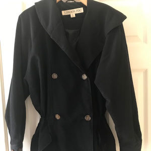 London Fog Black Double Breasted Trench Coat / Jac